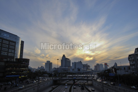北京西外大街黄昏