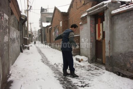 北京雪后的胡同