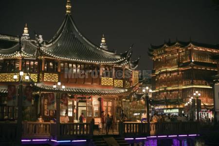 上海城隍庙老街夜景