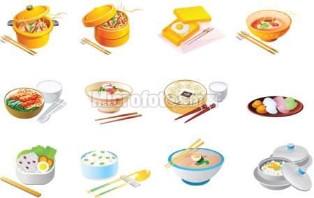 餐具饭盒 矢量图